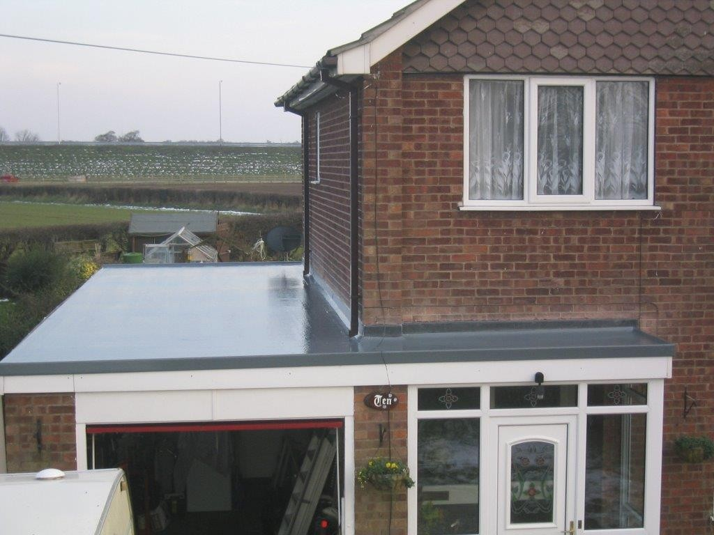 Grp fibreglass flat roof system roofix for Porch garage